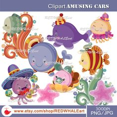 Sea characters Clipart Elements Set / 11 PNG/JPG/ For Personal and Commercial use/ Clip Art/ Instant Download by REDWHALEart on Etsy