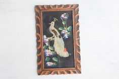 Birds of a Feather Mixed Media Framed Art  Mexican Folk Art Very interesting piece, beautiful peacock with REAL FEATHERS  Comes framed, frame