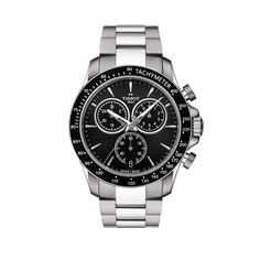 Model Tissot V8 Quartz Stainless Steel Black Dial Mens Watch T1064171105100 Functions Swiss made, quartz, 43mm, stainless steel, black dial, sapphire crystal glass, steel bracelet, folding clasp, 2 year warranty. Style number: T1064171105100