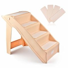 Folding Pet Stairs Dog Cat Step Ramp Ladder Large Portable for Tall Bed in Beige * Check out the image by visiting the link.