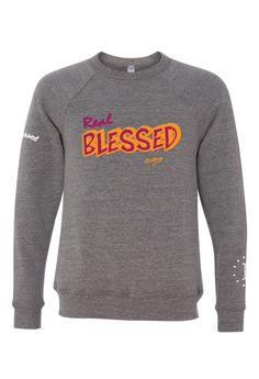 Men's Real Blessed Maroon Orange Long Sleeve Light Sweater