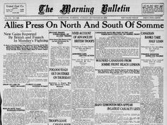 July 1916 - Unease in London over Somme Losses Pictured - The press could be both a friend and an enemy of generals. Large gains and changes on the front brought friendly headlines, but the news. Trivia Of The Day, Battle Of The Somme, Million Men, Newspaper Headlines, Anzac Day, French Army, Lest We Forget, World War One, Wwi