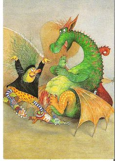 Ingrid and Dieter Schubert - Dragon and Witch Illustration