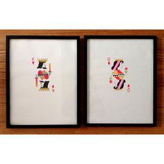 Original drawings, measuring inches each, sold as a pair. Gouache and ink on paper. Framed in black and ready to hang. Neon Painting, Gouache Painting, King Of Hearts, Deck Of Cards, King Queen, Diy Art, Wall Art, The Originals, Canvases