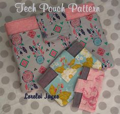 This adorable Tech Pouch sewing pattern includes FIVE sizes in one PDF pattern  The different sizes provided are:  Phone – suited to smart phones
