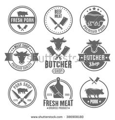 Butcher shop, premium quality meat, beef and pork set of vector monochrome vintage labels, badges, emblems and logos isolated on white background