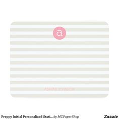 Preppy Initial Personalized Stationery Note Card