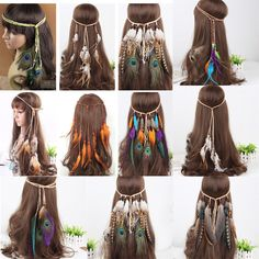Hippie Indian Feather Headband Hairband Carnival Headdress Bonfire Fascinators
