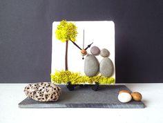 Galet bureau petit mur horloge Horloge plage par NaturalClocks