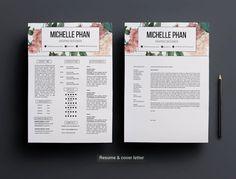 Plantilla de CV creativo pastel floral de fondo por ChicTemplates