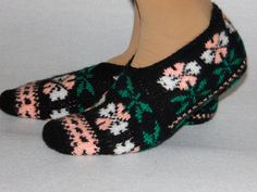 winter fashion black home slippersHand Knit by Istanbulcolors