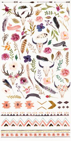 Watercolour tribe&flower DIY+Bonus - Illustrations - 4