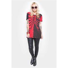 Bad To The Bone unisex T-shirt met ribbenkast print zwart/rood