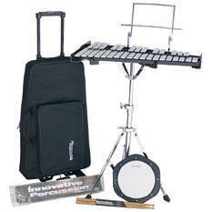 Innovative Percussion Bell Kit with Bag, Stand and Practice Pad by Innovative Percussion. $208.84. This Percussion Plus brand bell kit is ideal for beginning students! It features a full set with folding stand, oak wood frame, and rolling bag with backpack straps for maximum portability. This Bell Kit also includes a stand with ratcheted angle adjustment, practice pad, 2 pai mallets, 1 pair of drumsticks, and a music stand attachment. This best-selling Bell Kit ...