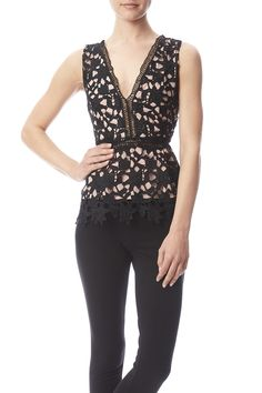 """Textured top with deep V in and back. Fitted bodice and Peplum body and scalloped edges. Exposed back zipper and nude contrast lining.  Approx. Measures: 23"""" long.  Textured Peplum Tank by Babel Fair. Clothing - Tops - Night Out Clothing - Tops - Sleeveless Nolita Manhattan New York City"""