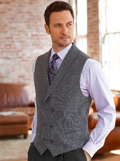 Amazon.com: Paul Fredrick Men's 100% Wool Windowpane Double Breasted Shawl Collar Vest: Clothing