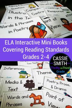These mini books are aligned to second, third, and fourth grade reading standards. There are mini books for each literature and informational text standard. The books explain and teach the skill and then give opportunities for students to practice. These are a great resource for students to have to reference their learning. 2nd Grade Ela, Third Grade Reading, Fourth Grade, Guided Math, Guided Reading, Mini Books, Anchor Charts, Elementary Schools, Literature