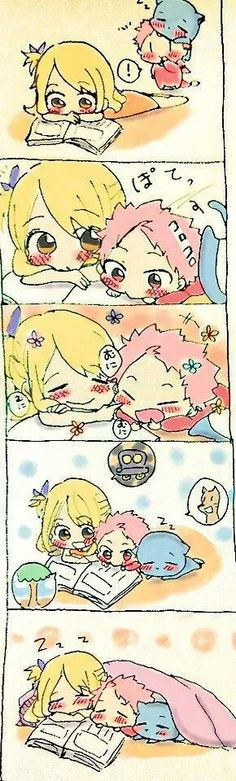 So Adorable. Little Natsu, Lucy and Happy