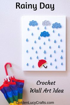 This Rainy Day Crochet Wall Art will be a beautiful decoration for your home or office. It would be a wonderful DIY project to make for yourself or as a gift for somebody who loves rain. Crochet Snail, Thread Crochet, Cute Crochet, Crochet Motif, Crochet Patterns, Crochet Appliques, Dog Crochet, Crochet Embellishments, Crochet Cactus