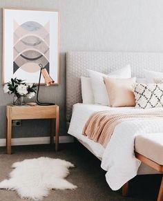 Bedroom design ideas,bedroom decor ideas,grey and pink bedroom Home Interior, Interior Design Living Room, Living Room Decor, Bedroom Decor, Bedroom Ideas, Wall Decor, Bedroom Lighting, Light Bedroom, Interior Colors