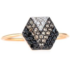 Kismet by Milka Sheriff Star 14K Rose Gold & Ombre Diamond Hexagon... (1,400 CAD) ❤ liked on Polyvore featuring jewelry, rings, rose gold ring, diamond jewelry, star diamond ring, 14k ring and band rings