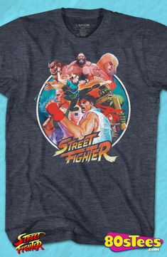 Collage Street Fighter Geeks: Enjoy the comfort of home or travel the great outdoors in this men's style shirt that has been designed and illustrated with great art.