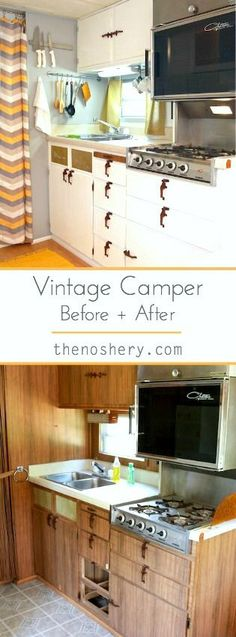 Vintage Camper Before and After | Vintage 1972 Arrow Flite camper turned glamper. DIY renovation. Modern details. Wood vinyl floors. Yellow, white and grey palette. | TheNoshery.com - @thenoshery