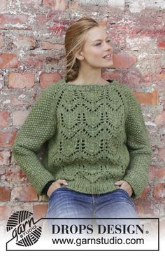 Miss Moss - Knitted jumper with raglan in 2 strands DROPS Air. The piece is worked top down with lace pattern and moss stitch. Sizes S - XXXL. Free knitted pattern DROPS 196-1