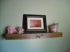 Reclaimed rustic floating barn wood shelf