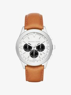 Consider our Gareth watch the last word in timeless time keeping. A polished silver-tone stainless steel case surrounds a matte-white dial, complete with chronograph subdials and a date function. Finished with a luggage-hued leather strap, this reliable timepiece makes a refined statement suited to all manner of occasions.