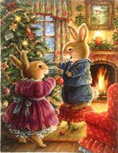 New Christmas Tree Illustration Susan Wheeler Ideas Susan Wheeler, Bunny Art, Cute Bunny, Christmas Scenes, Christmas Art, Family Christmas, Christmas Illustration, Children's Book Illustration, Lapin Art