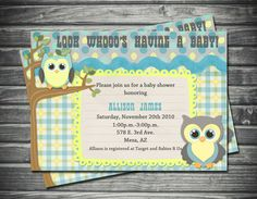 Owl Theme Baby Shower Invitation by Sassygfx on Etsy, $15.00