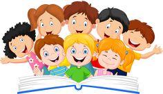 Ilustración de niños, Ilustración de lectura de libros, un grupo de niños.