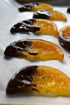 Candied Orange Slices dipped in Chocolate – Minced Candy Recipes, Sweet Recipes, Holiday Recipes, Dessert Recipes, Just Desserts, Delicious Desserts, Yummy Food, Sweet Desserts, Candied Orange Slices