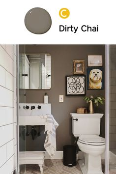 Upgrading your bathroom? Don't be afraid to go moody! Try our nutty brown, Dirty Chai and prepare to fall in love.