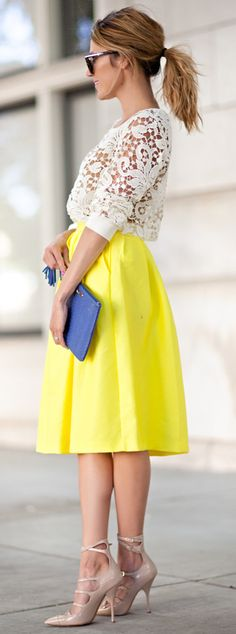 Love a bold shade midi skirt mixed with delicate lace.
