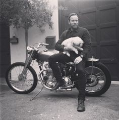Ewan McGregor on his pre-unit Triumph motorcycle built by The Barons Speed Shop