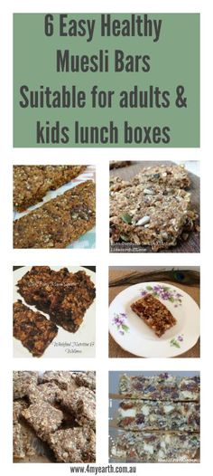 6 Easy Healthy Muesli Bars Suitable for adults & kids lunch boxes.  With making your own it is a great way to cut down on single use packaging plus less sugars than conventional bars.  4MyEarth reusable snack pockets are perfect for keeping them fresh.