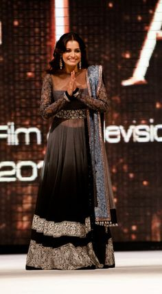 Diya Mirza in Manish Malhotra 2013 design. Love the grey to black ombré with contrasting white embroidery, lace sleeves, and peek a boo belly