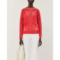 Maje Mazet Open-knitwork Cotton Sweater In White Maje, Cotton Sweater, Spice Things Up, Bell Sleeve Top, Stitch, Crochet, Red, Sweaters, Shopping