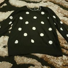 Polka Dot Sweater w/Zipper Shoulder SO cute-  just too big now. Black and white classic polka Dot pattern. White trim at neckline with one shoulder zipper detail. Perfect for layering! Size is 22/24 Lane Bryant Sweaters Crew & Scoop Necks