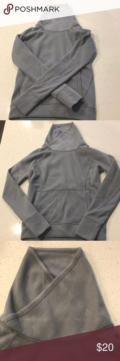 Gray Athleta Funnel Neck Comfortable gray athletic funnel top. Maybe some slight pilling at the sleeves - otherwise great condition Athleta Tops Sweatshirts & Hoodies