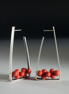 Red Jasper Triangle Hoops: Ayala Naphtali: Silver & Stone Earrings - Artful Home