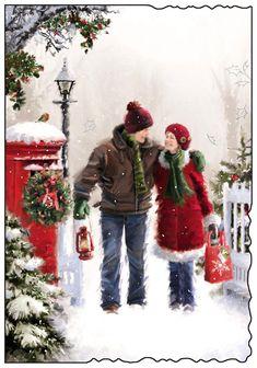 Christmas Scenery, Christmas Artwork, Christmas Couple, Christmas Paintings, Christmas Love, Christmas Bells, Christmas Pictures, Christmas Angels, Winter Christmas