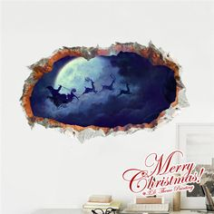 3D Santa Claus Comes PAG STICKER Wall Decals Sticker Home Wall Hole Christmas Decor Gift