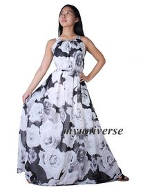 8d4bc174e5530 Items similar to Prom Dress Women Plus Sizes Clothing Long Maxi Dress Floral  Bridesmaid Dress Casual Beach Party Wedding Guest Black White Rose Chiffon  on ...