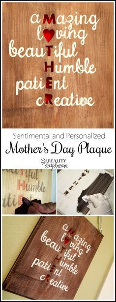 Make your Mom a beautiful and meaningful Mother's Day Plaque describing what she means to you! DIY Project Step by Step Tutorial to make a pretty gift for Mom's home decor. {Reality Daydream}