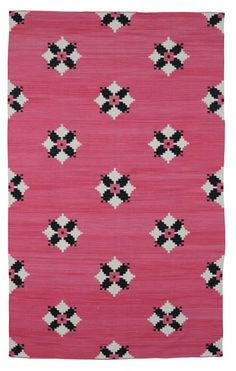 Pretty dhurrie rug. Reminds me of a traditional quilt pattern. I like the quilty look.   CC_UDAIPUR PINK_F
