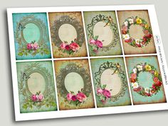 VICTORIAN FRAMES  Digital Collage Sheet Printable Gift by ArtCult, $4.60