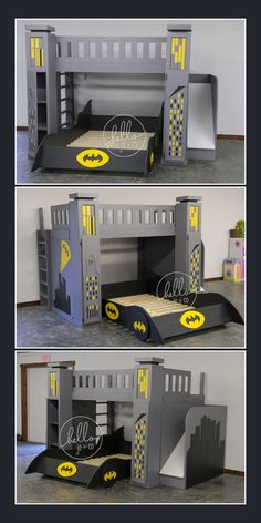 Full over Full custom batman bed with slide, storage towers & pull out batmobile. This is a hello jo + co custom build. Batman bed, super hero bed, batman bedroom, Gotham City, bat signal, kid's bedroom, kid's bed, big kid bed
